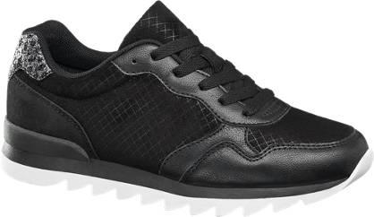 Graceland Zwarte sneaker wafelprint