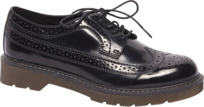 Graceland Zwarte veterschoen brogue look