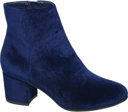 Graceland Kék bársony bokacsizma
