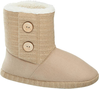 Button Side Boot Slipper