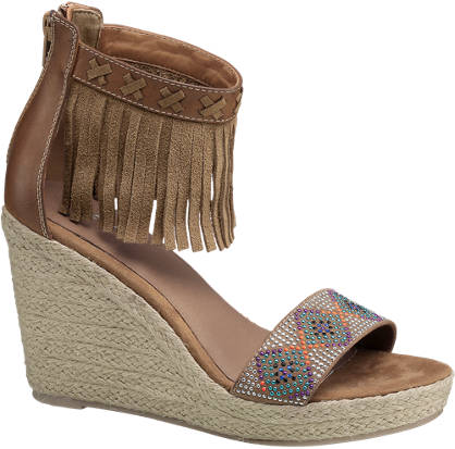 Graceland Fringed Wedge Sandals