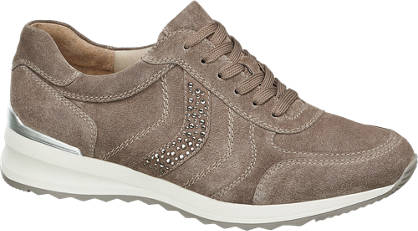 Medicus Taupe suede sneaker strass