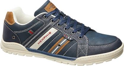 Memphis One Blauwe sneakers bruine details