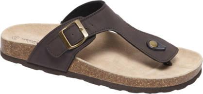 Memphis One Donkerbruine sandaal leren voetbed