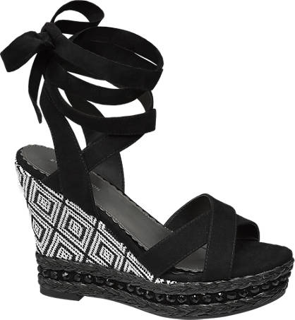 Star Collection Ankle Tie Wedge Sandals