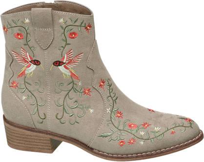 Catwalk Virágmintás western bokacsizma