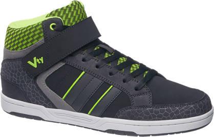 Vty Zwarte halfhoge sneaker croco print