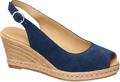 5th Avenue Blauwe leren sandaal espadrille sleehak