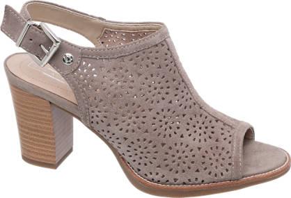 5th Avenue Grijze leren sandalette perforatie