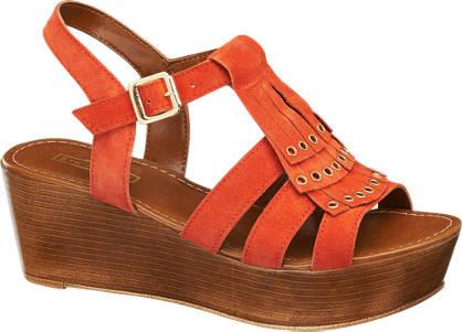 5th Avenue Oranje leren sandalette franjes