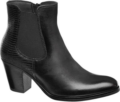 5th Avenue Zwarte leren chelsea boot slangenprint