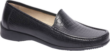 5th Avenue Zwarte leren moccassin crocoprint