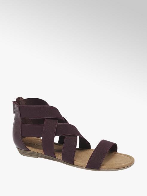 Graceland bordowe sandały damskie Graceland z elastycznymi gumkami