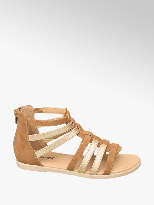 Graceland brązowo-złote sandałki dziewczece Graceland typu rzymianki