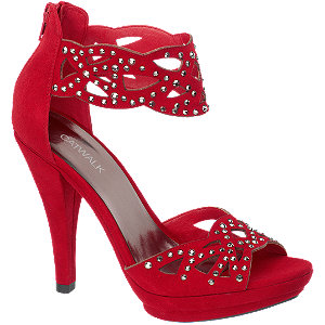 sandałki na platformie Catwalk czerwony
