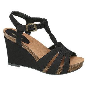 sandały na koturnie Graceland czarny