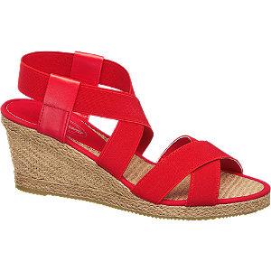 sandały na koturnie Graceland czerwony