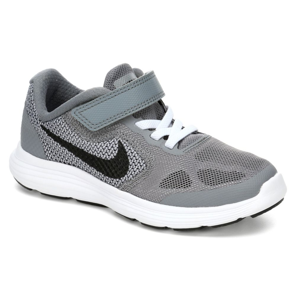 Nike revolution 3 kids 39 shoe grey rack room shoes for Rack room kids shoes