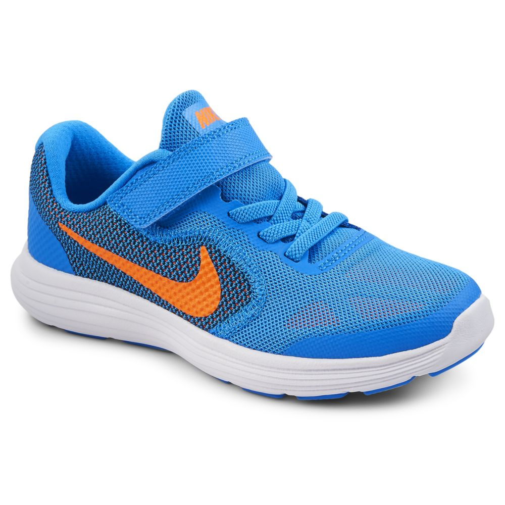 Nike revolution 3 kids 39 shoe bright blue rack room shoes for Rack room kids shoes