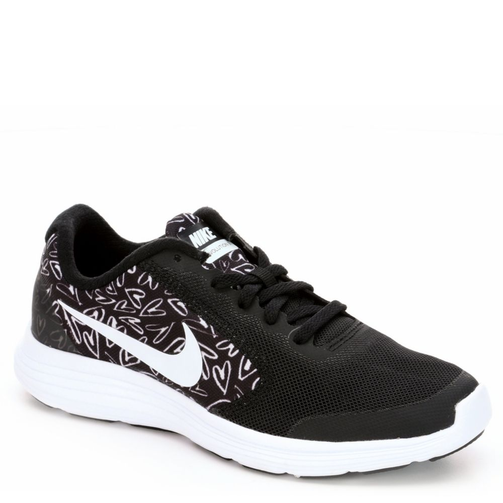 Nike revolution 3 print kids 39 shoe black rack room shoes for Rack room kids shoes
