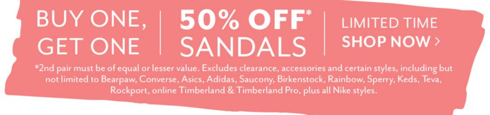 Buy One Get One 50% Off Sandals