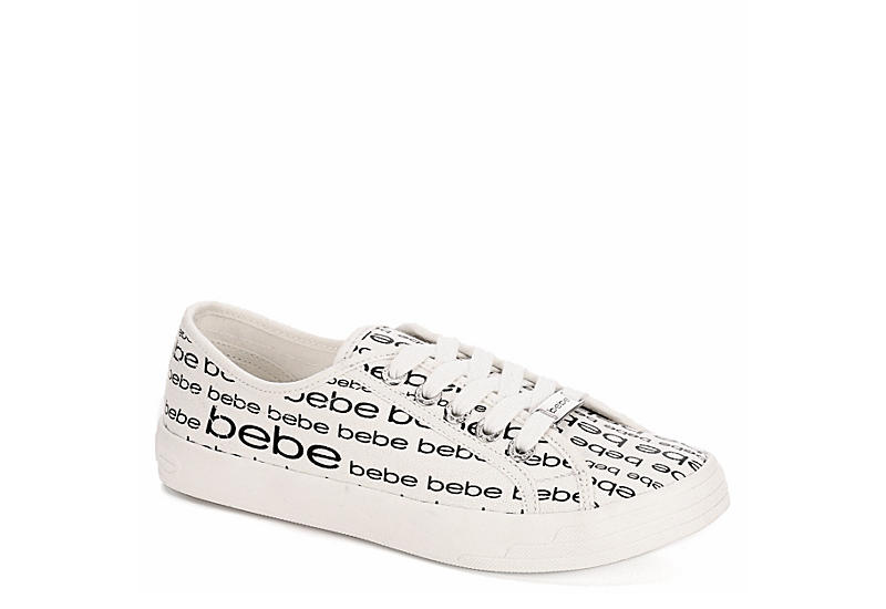 BEBE Womens Daylin Canvas Sneaker - WHITE