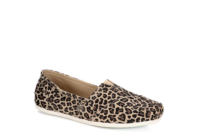 SKECHERS BOBS Womens Plush Hot Spotted - LEOPARD
