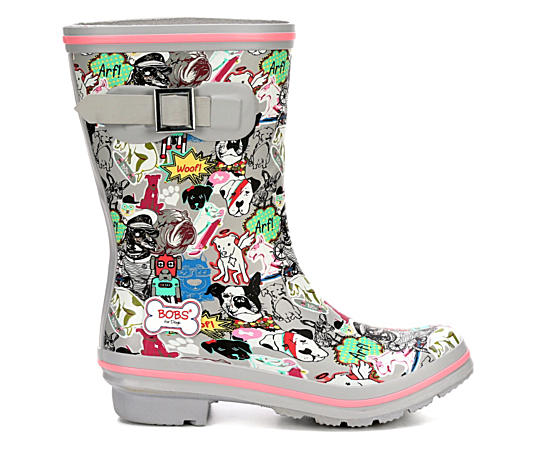 Womens Mixed Media Print Rain Boot