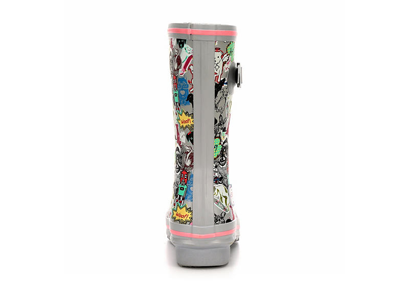 SKECHERS BOBS Womens Mixed Media Print Rainboot - GREY