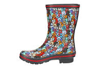 SKECHERS BOBS Womens Woof Party Print Rain Boot - MULTICOLOR