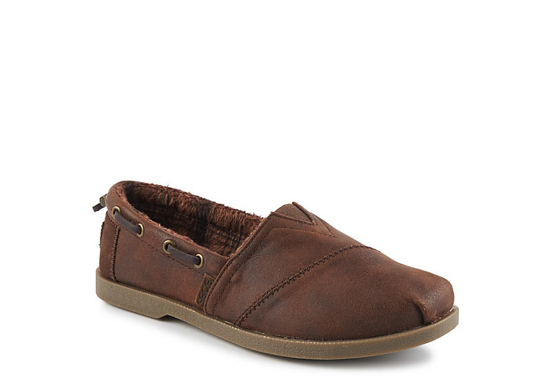 BROWN SKECHERS BOBS Womens Chill Luxe Buttoned Up