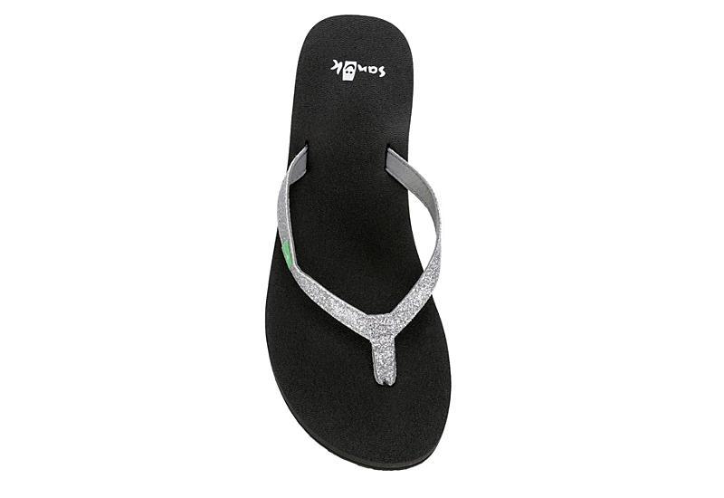 SANUK Womens Yoga Joy Flip Flop Sandal - SILVER