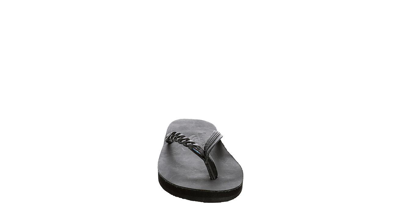 RAINBOW SANDALS Womens Flirty Braidy Flip Flop Sandal - BLACK
