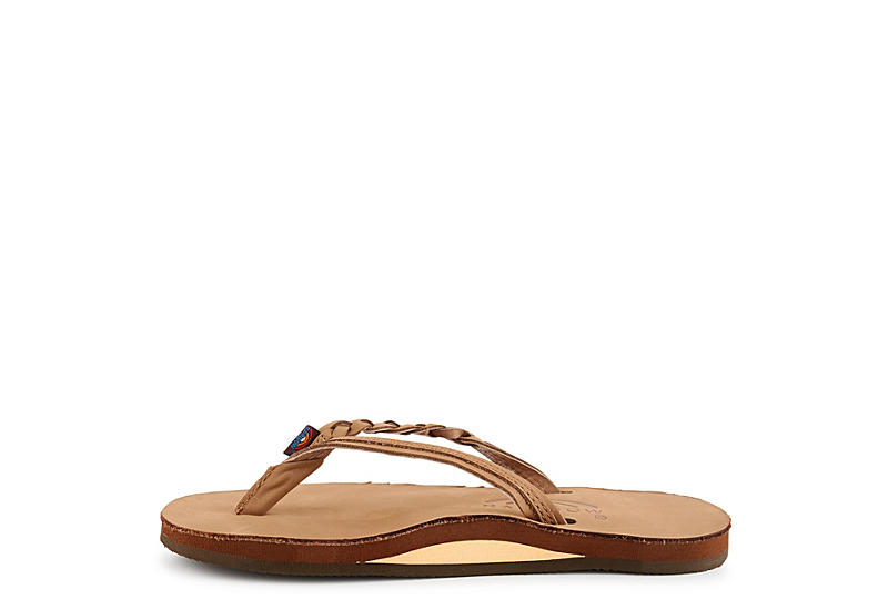 RAINBOW SANDALS Womens Flirty Braidy Flip Flop Sandal - DARK BROWN