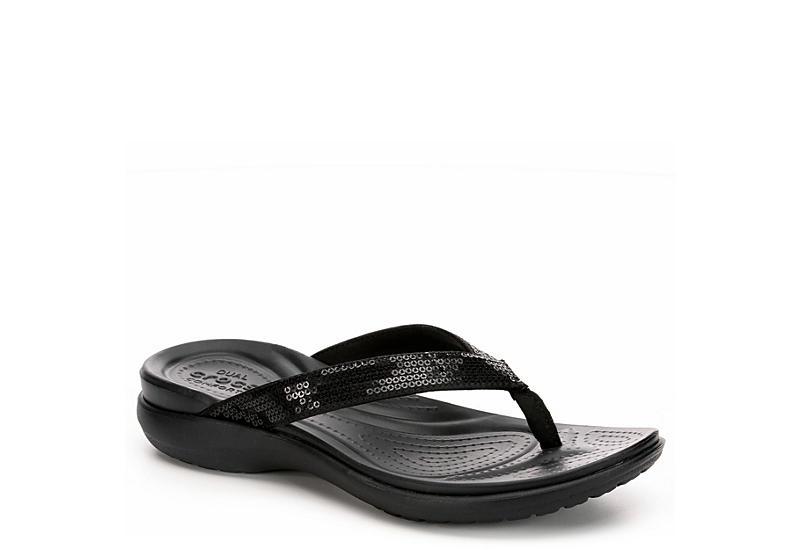 40cdd54249c8e5 Black Crocs Capri V Women s Flip Flops