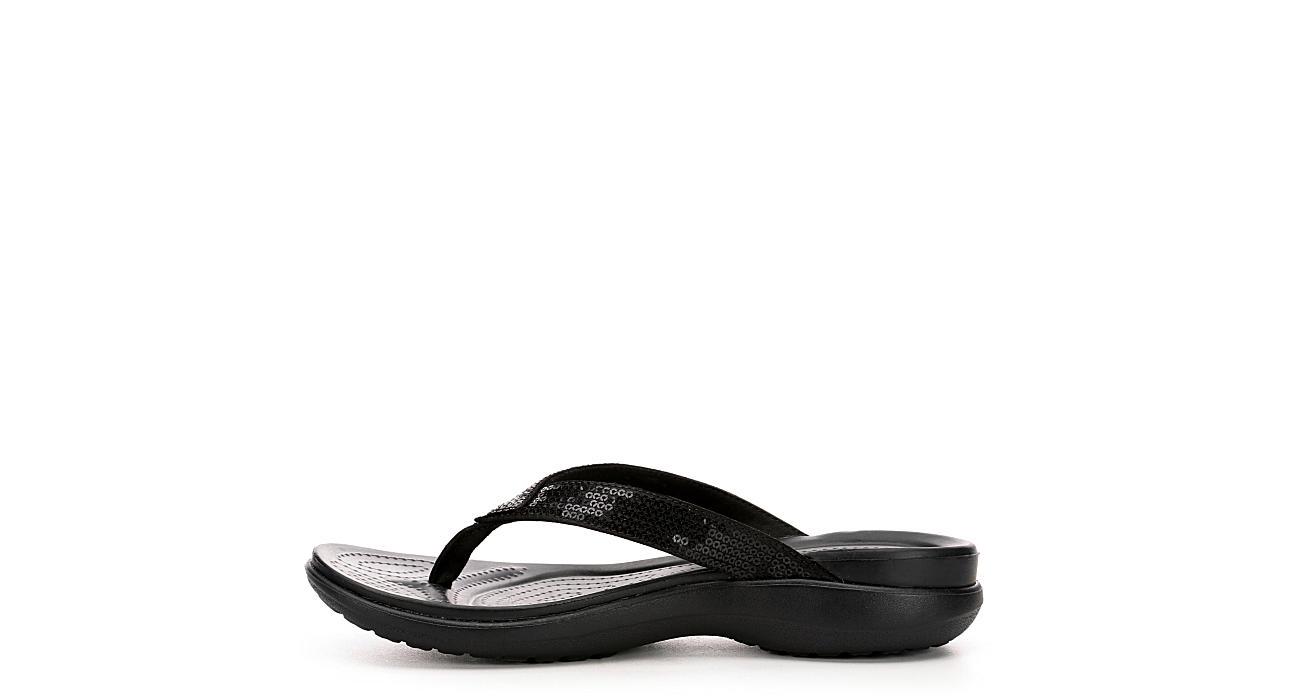 CROCS Womens Capri Flip Flop Sandal - BLACK