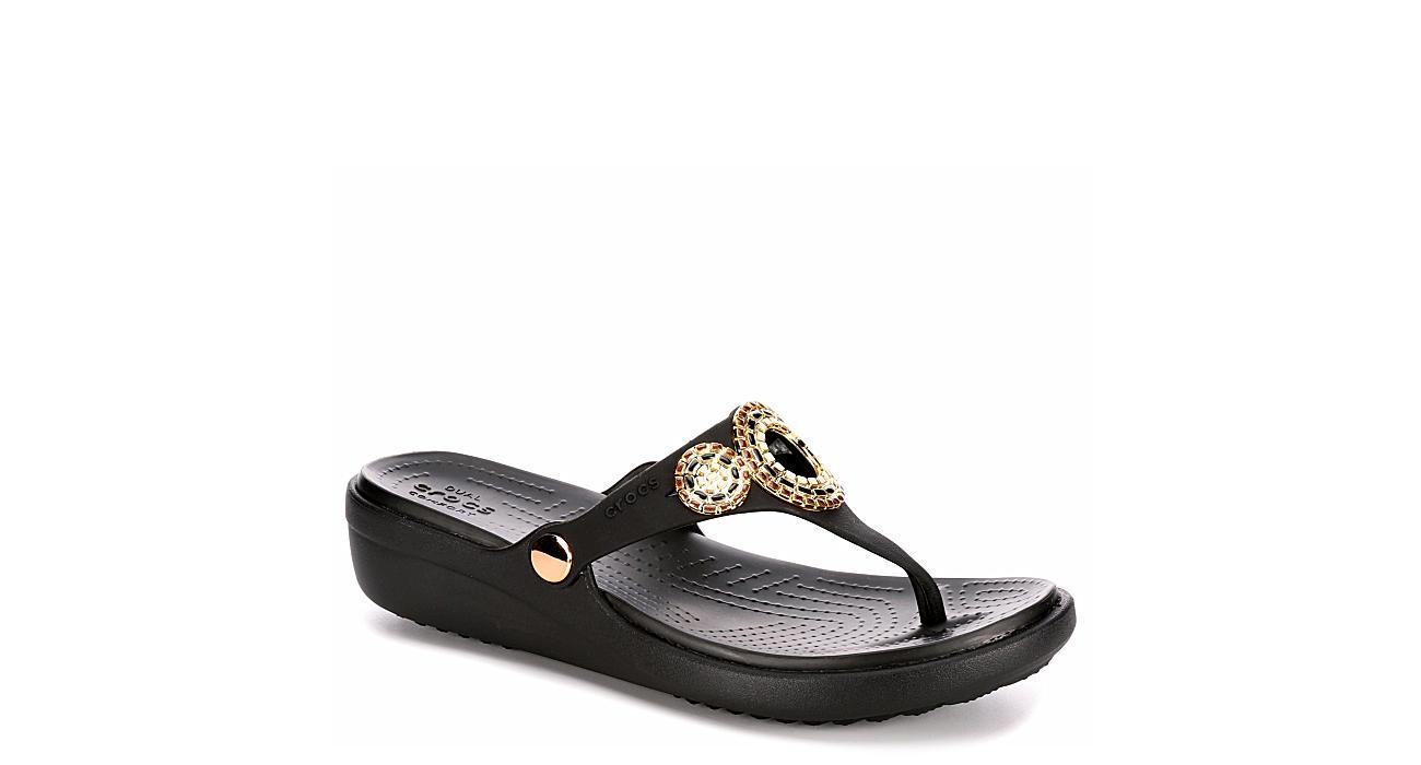 CROCS Womens Sanrah Diamante Wedge Sandal - BLACK