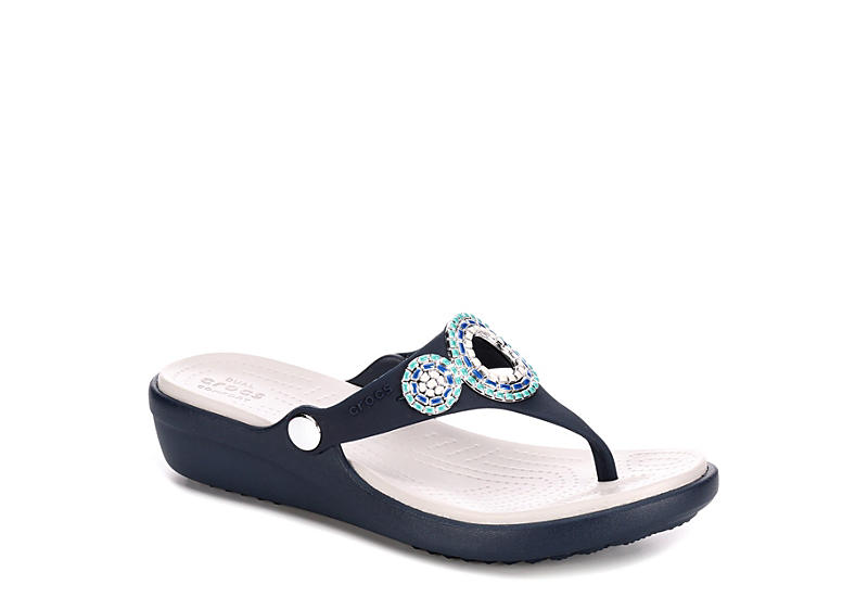 44091c4cf Crocs Womens Sanrah Diamante Wedge - Navy