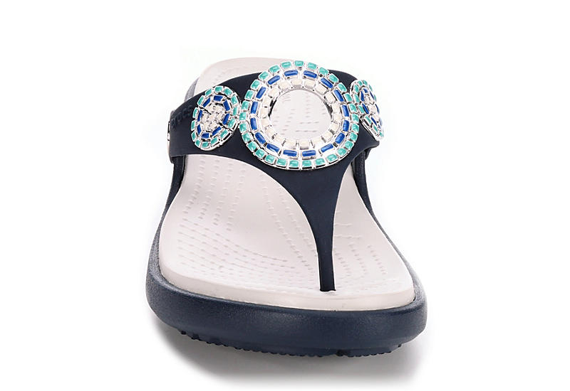 CROCS Womens Sanrah Diamante Wedge Sandal - NAVY