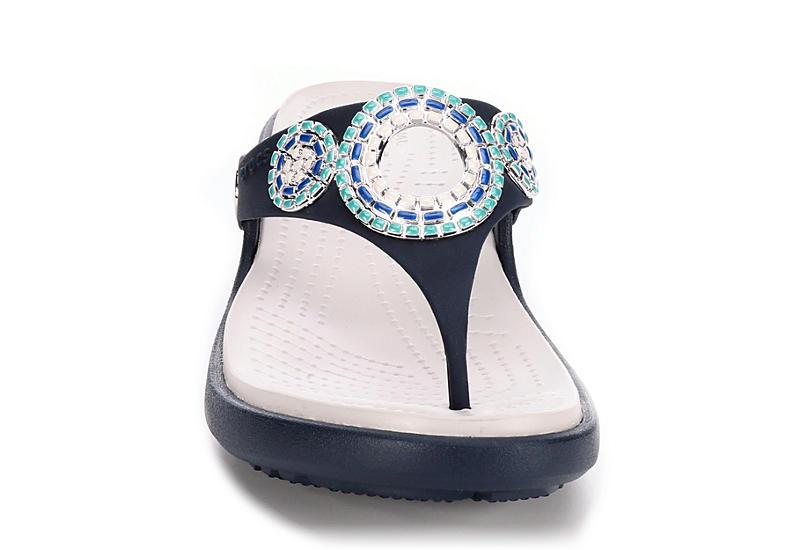 CROCS Womens Sanrah Diamante Wedge - NAVY