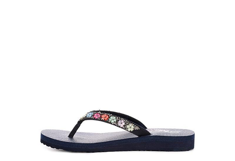 SKECHERS CALI Womens Daisy Delight Flip Flop Sandal - NAVY