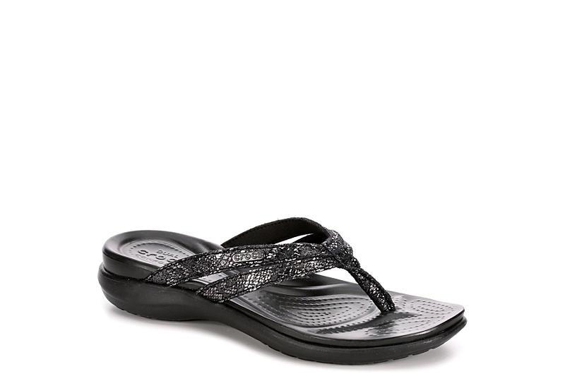 59d3c8db615 Black Crocs Womens Capri Strappy Flip | Black & White | Rack Room Shoes