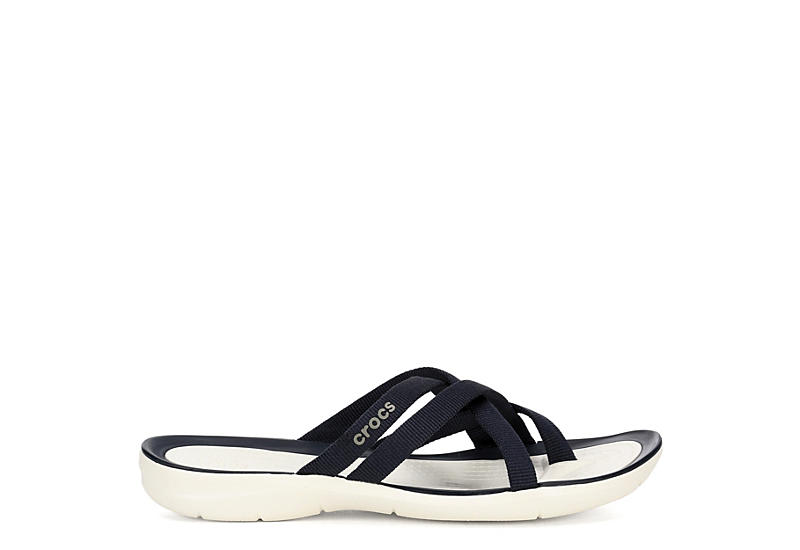 CROCS Womens Swiftwater Webbing Flip - NAVY