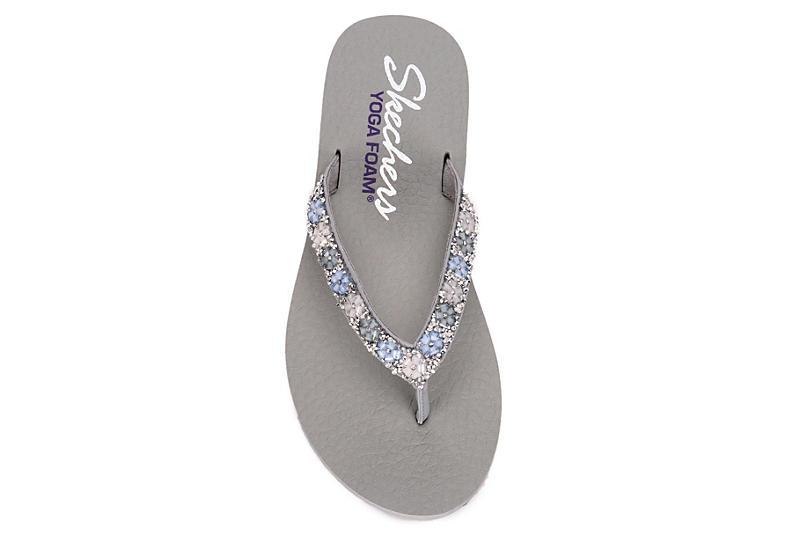 SKECHERS CALI Womens Daisy Delight Flip Flop Sandal - GREY