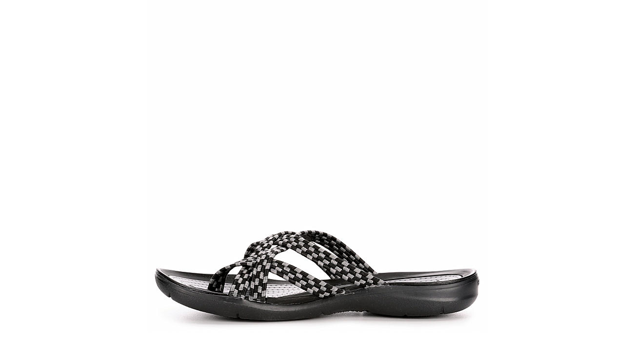 CROCS Womens Swiftwater Braided Flip Flop Sandal - BLACK