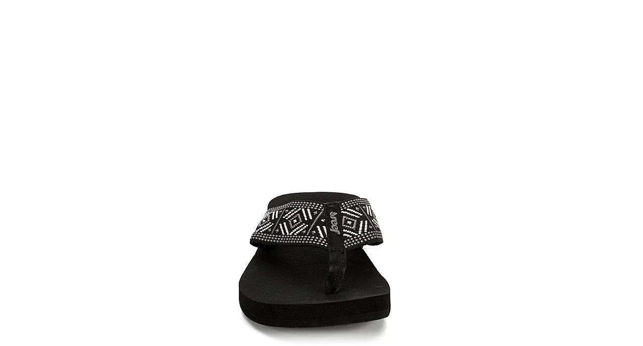 REEF Womens Spring Woven Flip Flop Sandal - BLACK