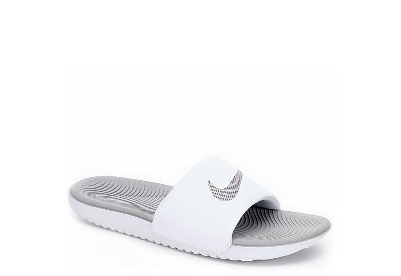 White   Grey Nike Kawa Women s Slide Sandals  7f2fa155eca9