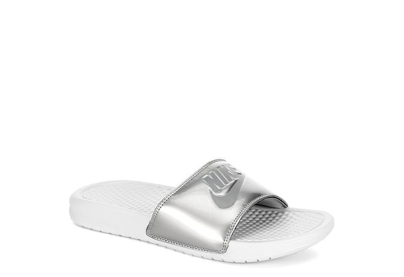 80ed6af76a9 White   Silver Nike Benassi JDI Women s Slides