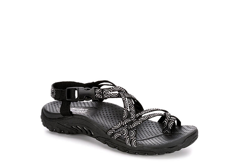 Black Skechers Womens Happy Rainbow Outdoors Sandals