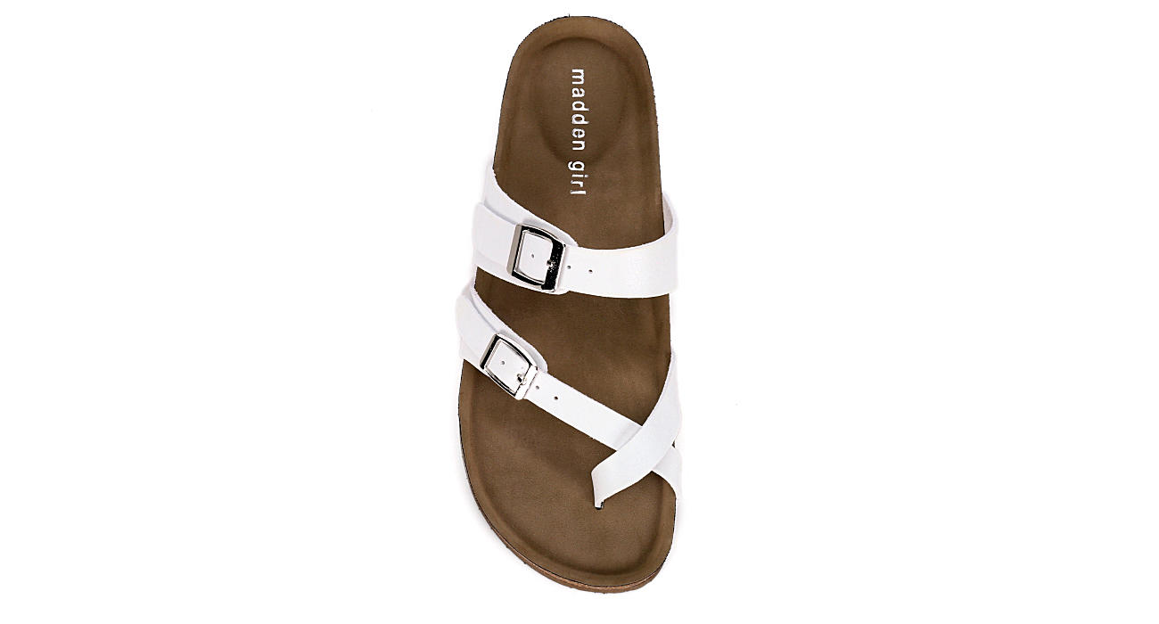 MADDEN GIRL Womens Bryceee Footbed Sandal - WHITE